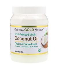 California Gold Nutrition, Органическое нерафинированное кокосовое масло холодного отжима, нерафинированное, 1,6 л.
